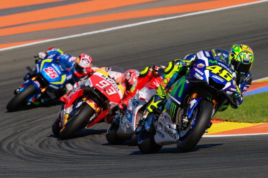Rossi, Iannone e Márquez andaram muito juntos se revezando entre o segundo e quarto lugares