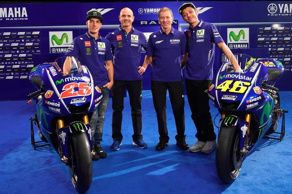 Valentino Rossi com seu novo companheiro de equipe Maverick Viñales