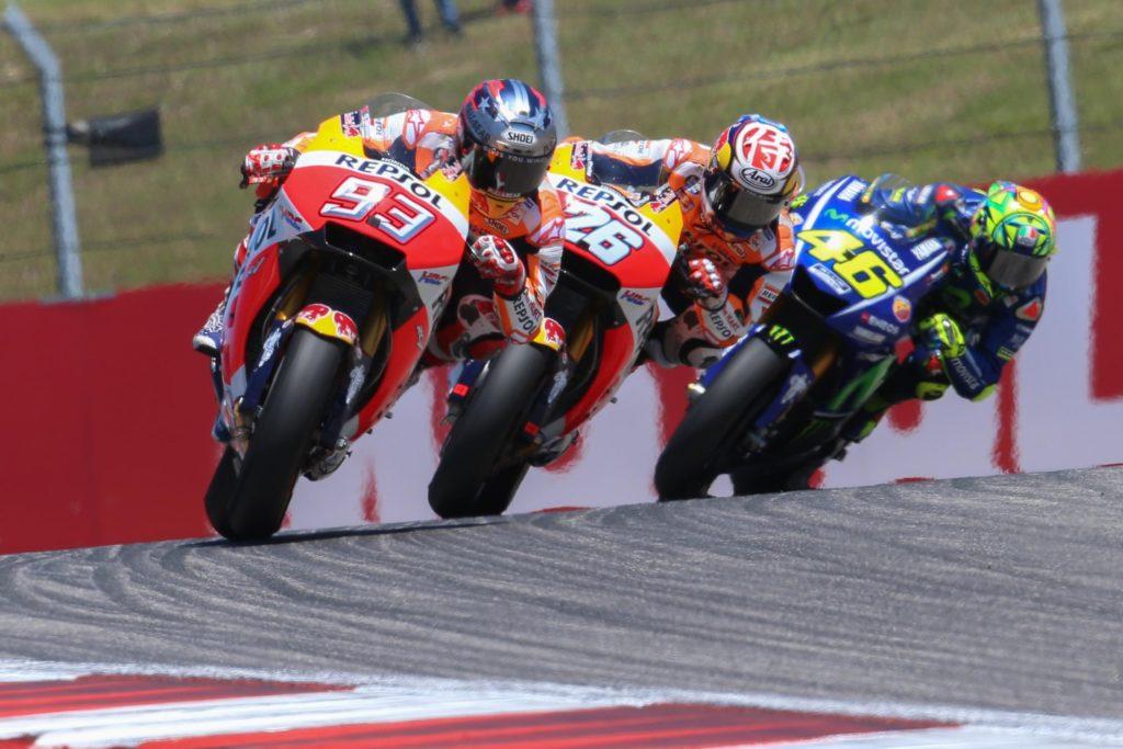 Márquez, Pedrosa e Rossi durante o MotoGP das Américas