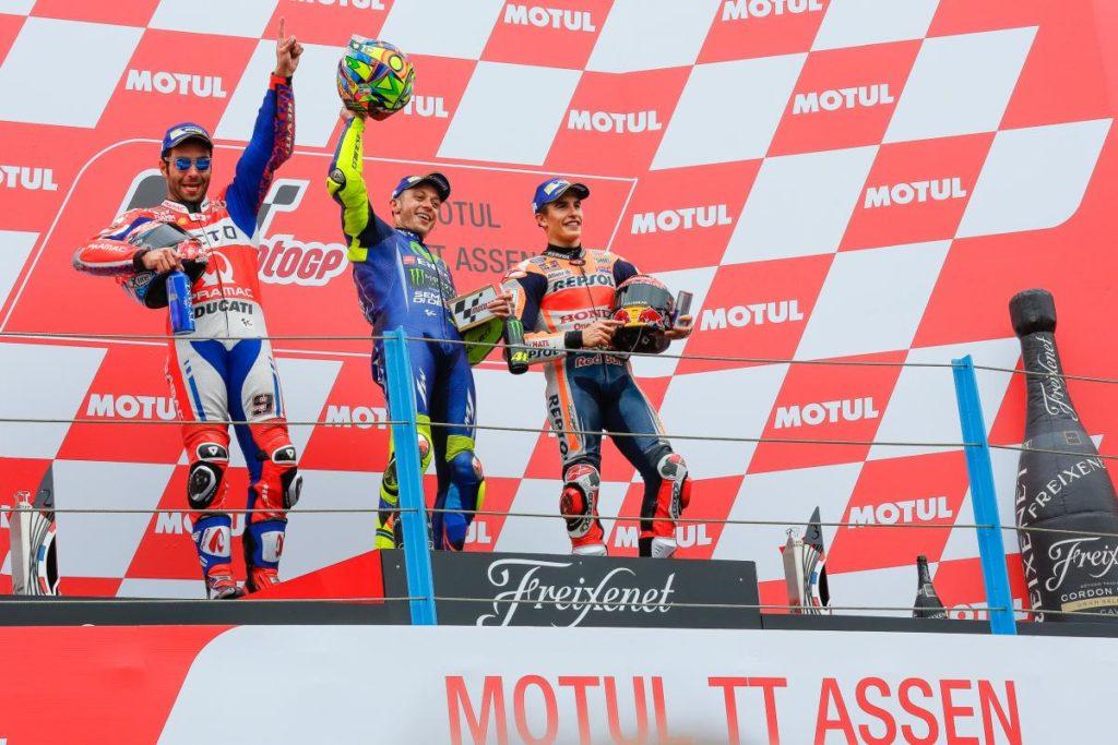 Pódio dos campeões, Rossi, Petrucci e Márquez
