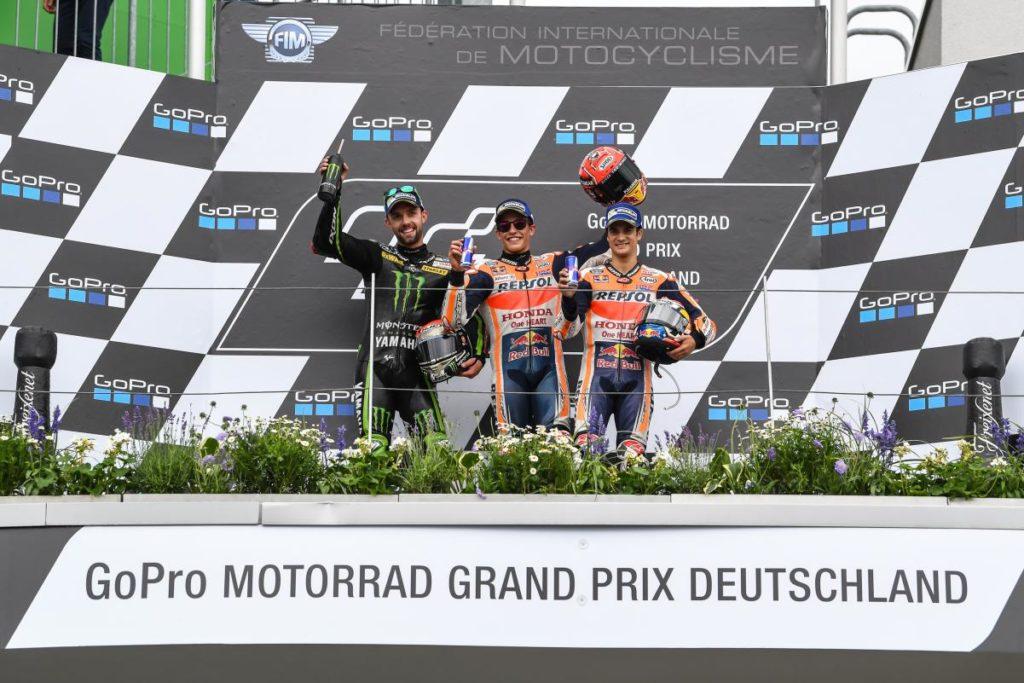 Pódio da Alemanha com Márquez, Folger e Dani Pedrosa