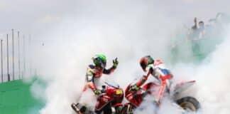 Eric Granado e Pedro Sampaio comemoram as dobradinhas da equipe Honda